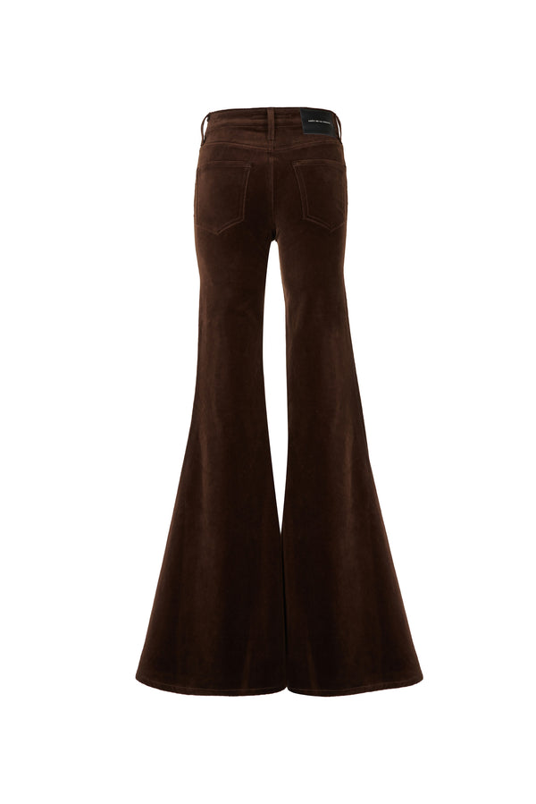Stretch Velvet Mid Rise Super Flare Pant Chocolate