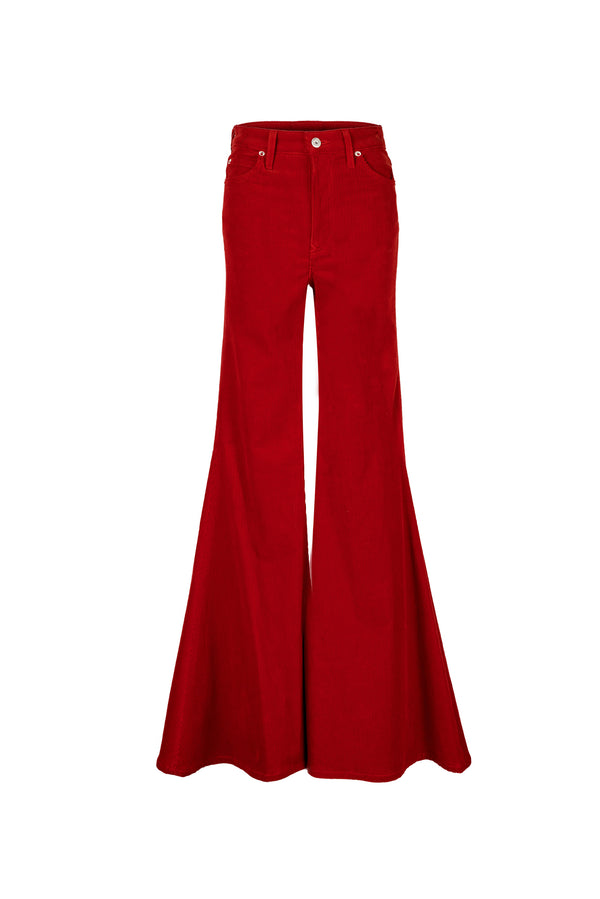 Stretch Cord Super High Rise Super Bell Pant Bright Red