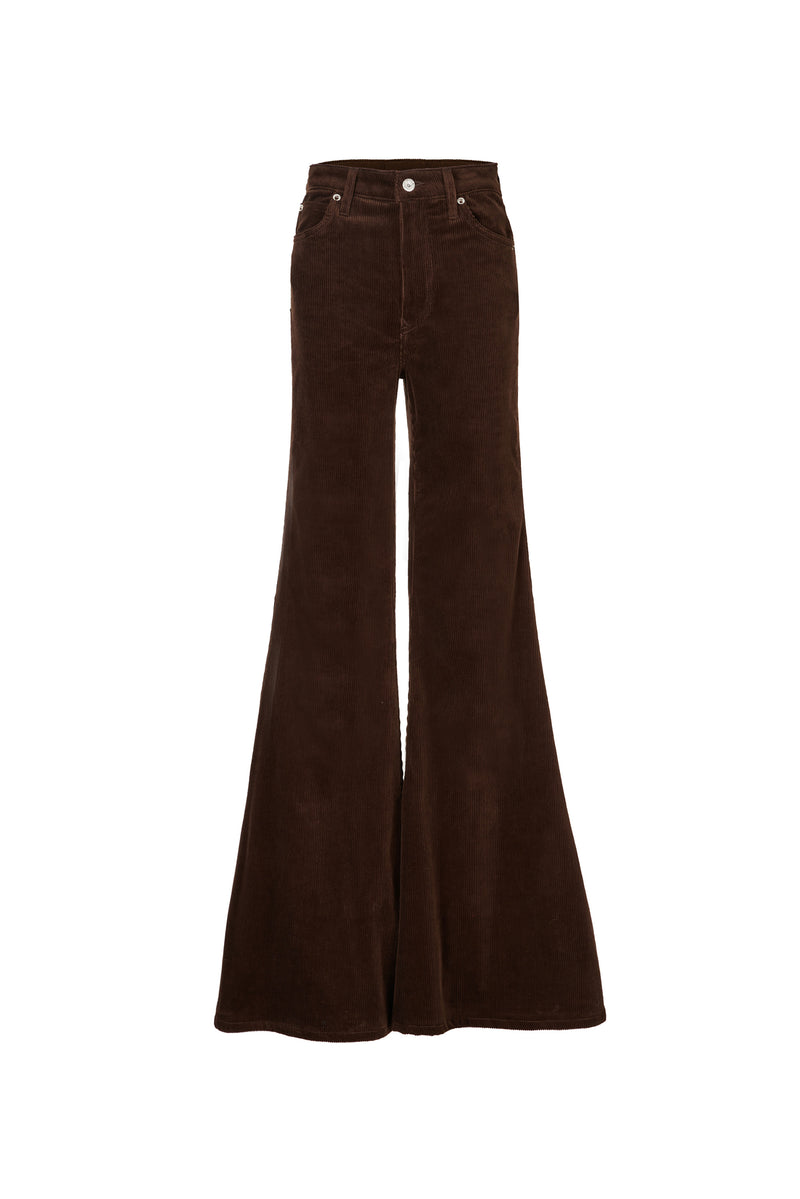 Stretch Cord Super High Rise Super Bell Pant Chocolate