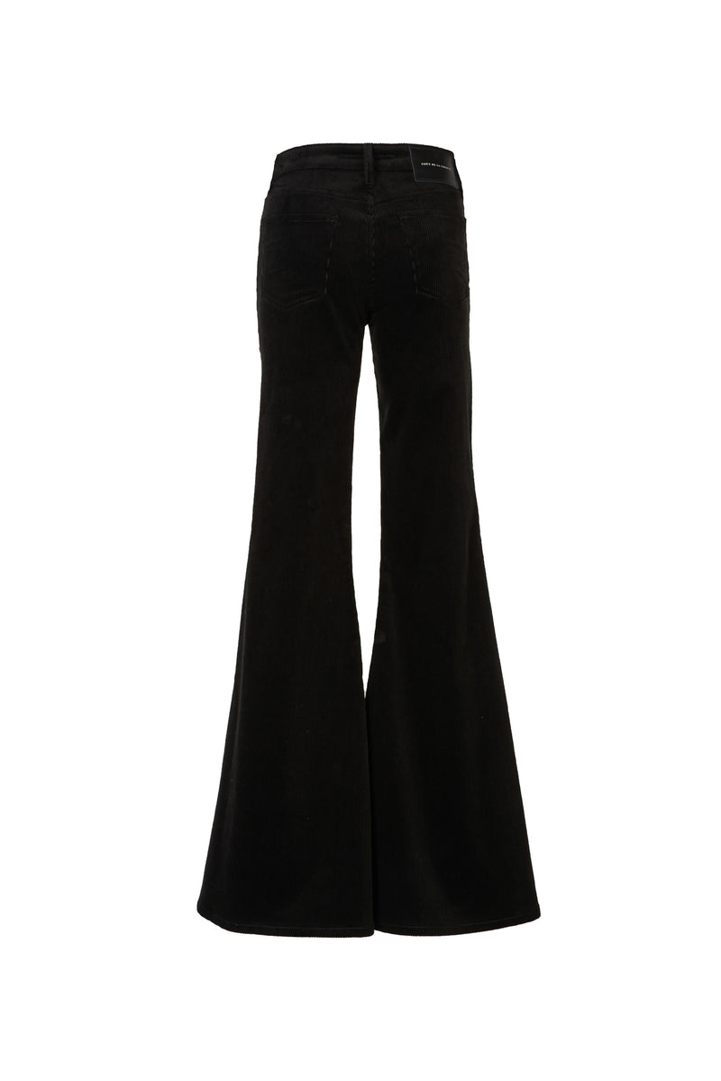 Stretch Cord Mid Rise Super Flare Pant Black