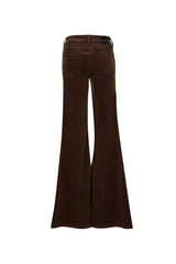 Stretch Cord Mid Rise Super Flare Pant Chocolate