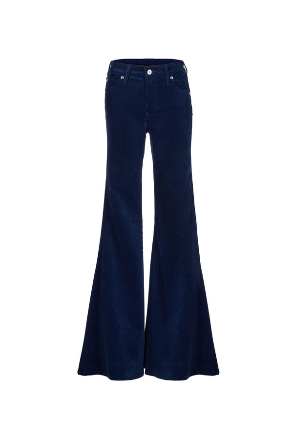 Stretch Cord Mid Rise Super Flare Pant Navy