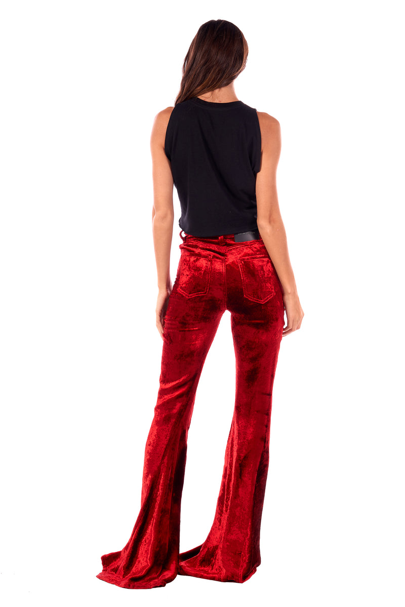 Viscose Velvet Super High Rise Super Bell Pant Bright Red