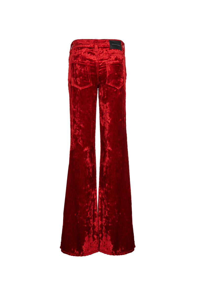Viscose Velvet Low Rise Super Flare Pant Bright Red