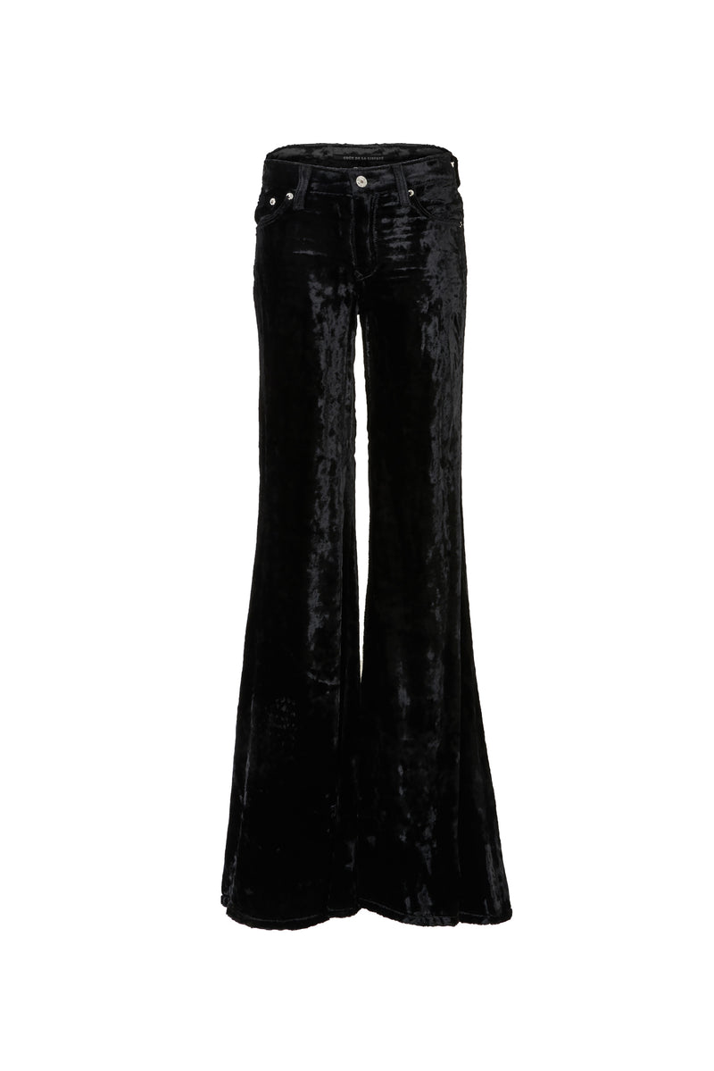 Viscose Velvet Low Rise Super Flare Pant Black