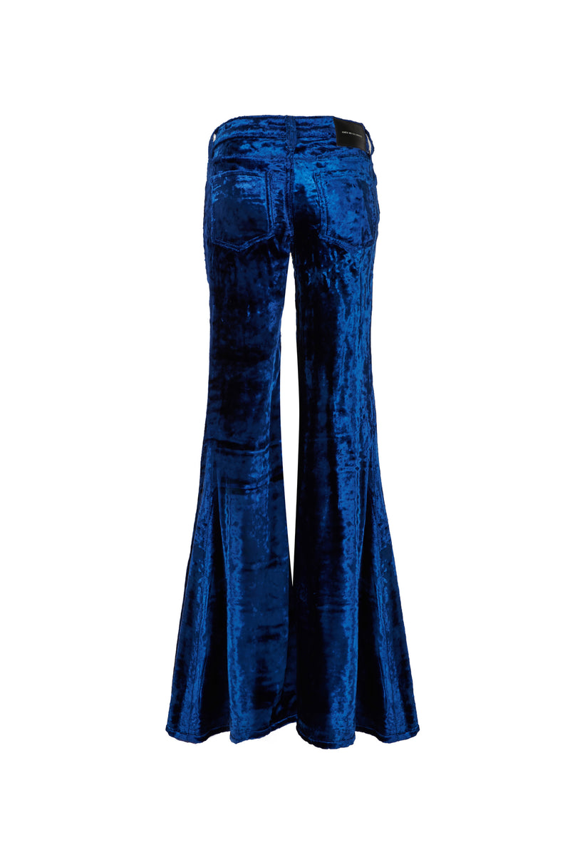 Viscose Velvet Low Rise Super Flare Pant Navy