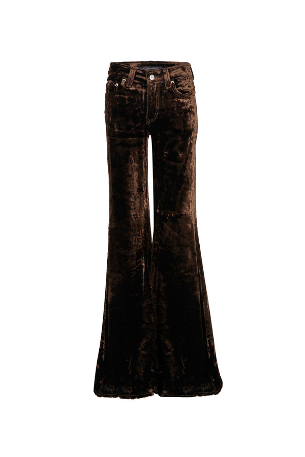 Viscose Velvet Low Rise Super Flare Pant Chocolate