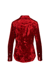 Rosie/ Viscose Velvet Western Shirt Bright Red