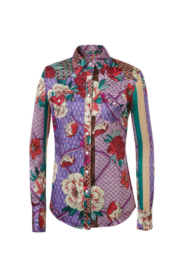 Western Silk Shirt Tan / Purple Floral