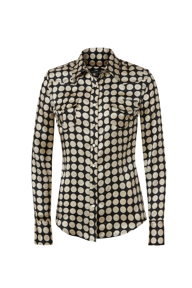 Western Silk Shirt Black / Ivory Dot