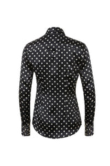 Western Silk Shirt Black / White Micro Dot