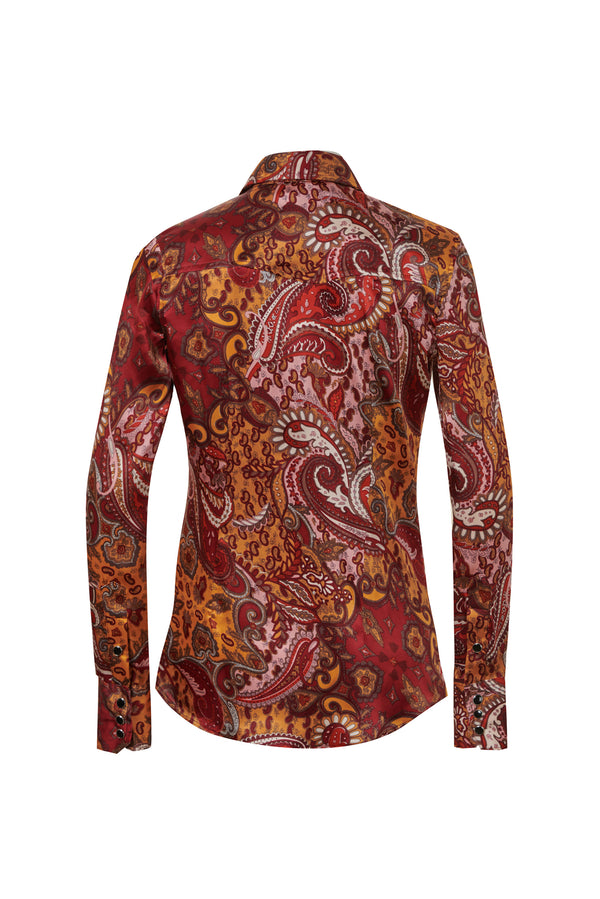 Western Silk Shirt Red / Gold Paisley