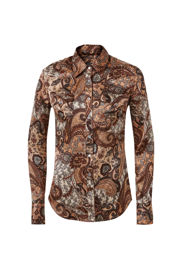 Western Silk Shirt Brown / Chocolate Paisley