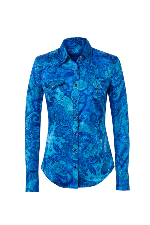 Western Silk Shirt Royal Blue Paisley