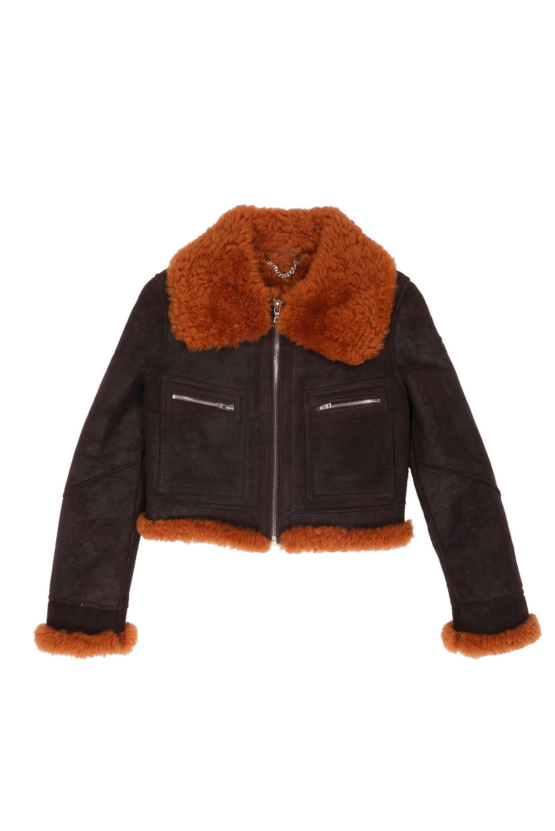 Oiled Shearling Wide Collar Crop Jacket Chocolate / Orange