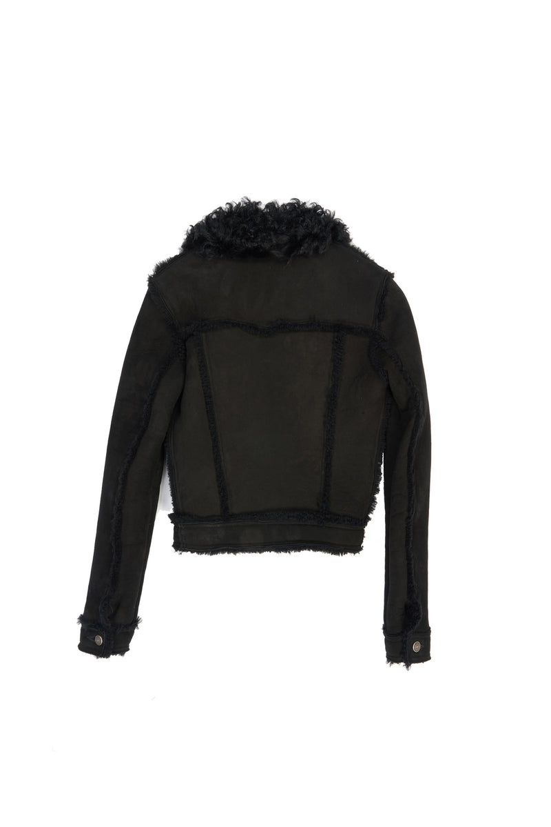 Donna/ Merino Wool Shearling Trucker Jacket Black