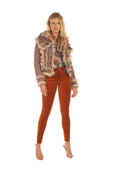 Wool Sherpa Tie Dye Trucker Jacket Multi Brown