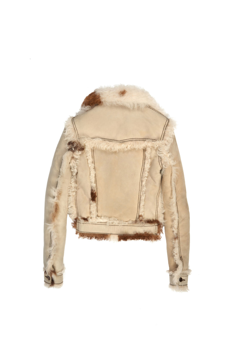 Wool Sherpa Spotted Trucker Jacket Light Tan / Brown