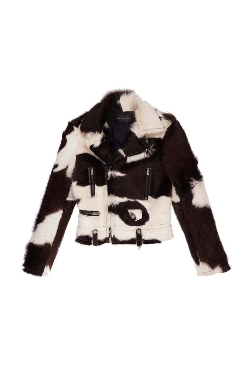 Cindy/ Long Hair Spotted Cow Moto Jacket Ivory / Chocolate