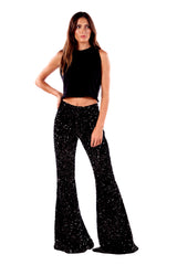 Christy/ Sequin High Rise Super Bell Pant Black