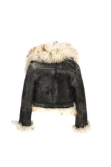 Cracked Lambskin Wide Collar Crop Jacket Black / Golden Natural