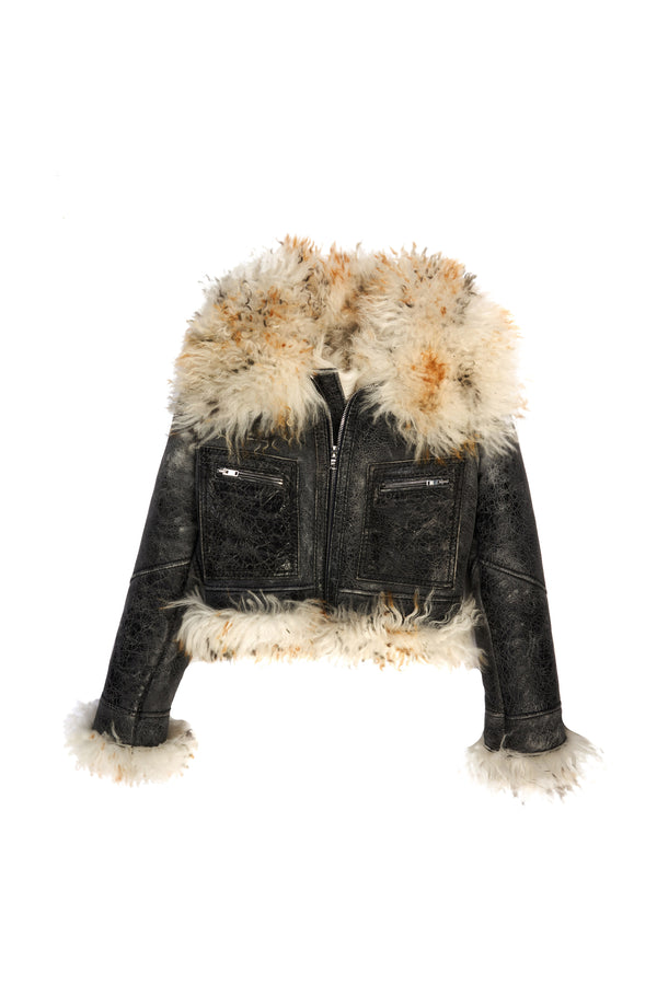 Bella/ Crackled Lambskin Cropped Jacket Black / Golden Natural