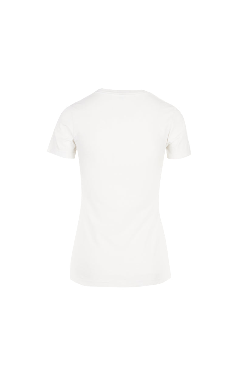 Kate/ Flocked Cougar Cotton T-Shirt Vintage White