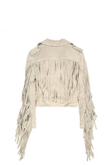 Suede Fringe Moto Jacket Light Grey