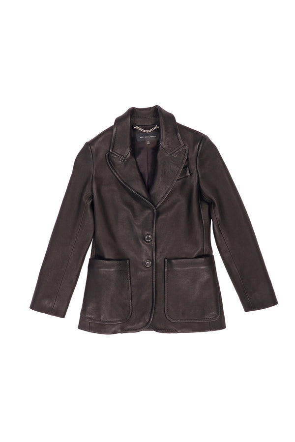 Naomi/ Stretch Leather Blazer Black