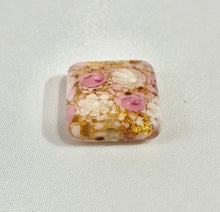 Load image into Gallery viewer, White and Pink Lace Square Murano Glass