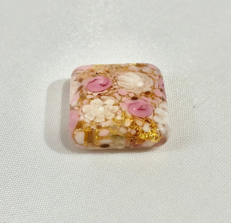 White and Pink Lace Square Murano Glass