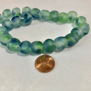 Green Blue Swirl Recycled Glass Beads (14mm)