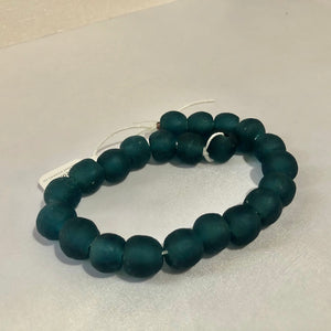 Dark Teal Swirl Recycled Glass Beads (14mm)