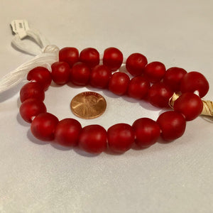 Cherry Red Recycled Glass Beads (14mm)