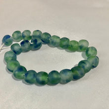 Load image into Gallery viewer, Green Blue Swirl Recycled Glass Beads (14mm)