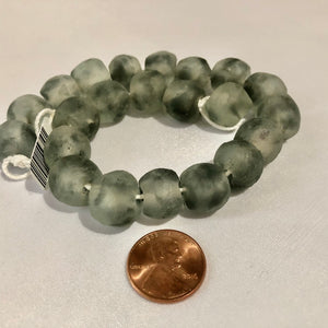 Light Gray Swirl Recycled Glass Beads (14mm)