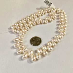 White Top Drilled 8mm Freshwater Pearls