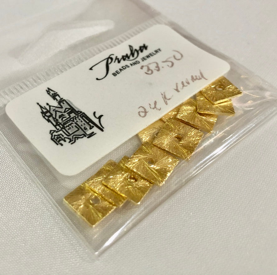24K Vermeil Square Spacer Beads