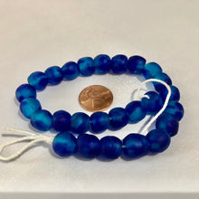Load image into Gallery viewer, Aqua Swirl Recycled Glass Beads (11mm)