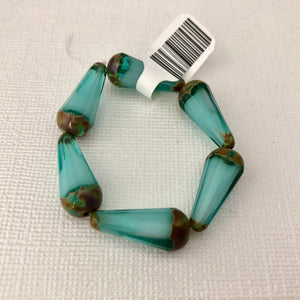 Faceted Dangle Drop Sea Green with Bronze Etched Finish
