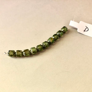 Barrel Antique Green Cathedral Beads