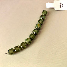 Load image into Gallery viewer, Barrel Antique Green Cathedral Beads