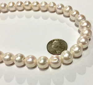 White Round Freshwater Pearls, 15 MM