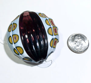 Murano Glass Bead Blown and Sculpted Disc 40MM