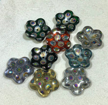 Load image into Gallery viewer, Czech Glass Puffed Petal Flower Rainbow Beads