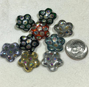 Czech Glass Puffed Petal Flower Rainbow Beads