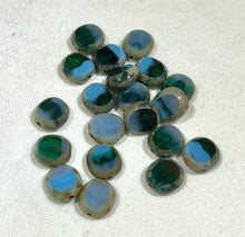 Load image into Gallery viewer, Oval Etched Green/blue/beige Beads, Czech 10MM