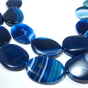 "Huge Bright Blue Oval Natural Stripe Agate Beads, 15"" Strand"