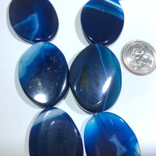 "Load image into Gallery viewer, Huge Bright Blue Oval Natural Stripe Agate Beads, 15"" Strand"