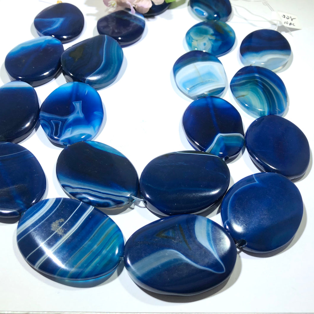Huge Bright Blue Oval Natural Stripe Agate Beads, 15